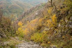 Autumn landscape in Cernei Mountains Royalty Free Stock Photography