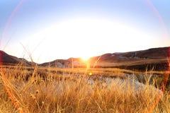 Autumn landscape. Chalk mountains at  sunrise. Stock Photography