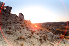 Autumn landscape. Chalk mountains at  sunrise. Royalty Free Stock Photos