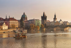 Autumn landscape with Charles Bridge in Prague Stock Photography
