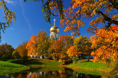 Autumn landscape with church. Autumn landscape with orthodox church and the lake Stock Photography