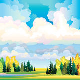 Autumn landscape with clouds, trees and meadow Stock Photos