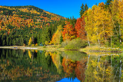 Autumn landscape with colorful forest,St Ana Lake,Transylvania,Romania Royalty Free Stock Photography