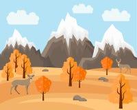 Autumn Landscape com os cervos no estilo liso Illustartion ilustração royalty free