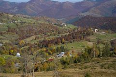 Autumn landscape in the countryside. A beautiful panorama of a village royalty free stock image