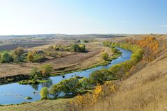 Autumn landscape with curved river panorama in Russia Stock Photography