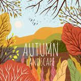 Autumn landscape. Cute flat vector illustration of nature background with hill, meadow, forest and plants. Freehand