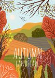 Autumn landscape. Cute vector illustration of nature background with hill, meadow and forest. Freehand drawing