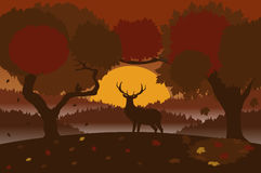 Autumn landscape with a deer. Autumn season landscape in brown and red colors. EPS 10 Stock Photography