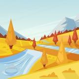 Autumn Landscape Dirigez l'illustration de chute des collines, des prés et des montagnes Fond extérieur de nature Photographie stock libre de droits