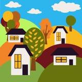 Autumn Landscape Dorp op Heuvels met Huizen en Bomen Royalty-vrije Stock Afbeeldingen