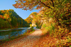 Autumn Landscape Dunajec River Gorge Mountains Trees Stock Images