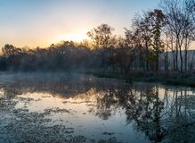 Autumn landscape of early foggy morning in the far east of Russia. stock photo