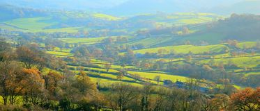 Autumn landscape in East Devon. AONB Area of Outstanding Natural Beauty royalty free stock photography
