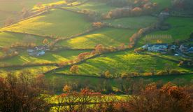 Autumn landscape in East Devon. AONB Area of Outstanding Natural Beauty royalty free stock photo