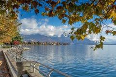 Autumn landscape of Embankment, Vevey, canton of Vaud, Switzerland Royalty Free Stock Images
