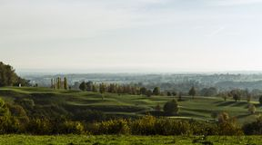 Autumn landscape in evening light in the hills of South Limburg, the Netherlands stock images