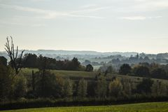 Autumn landscape in evening light in the hills of South Limburg, the Netherlands stock photo