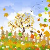 Autumn landscape  fence Stock Photography