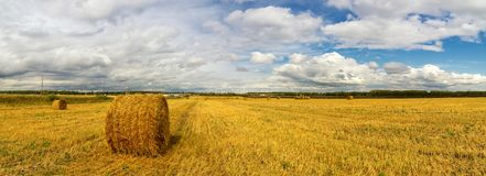 Autumn landscape in a field with hay in the evening, Russia, Ural stock photos