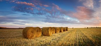 Autumn landscape in a field with hay in the evening, Russia, Ural stock images