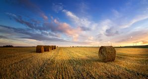 Autumn landscape in a field with hay in the evening, Russia, Ural royalty free stock photos