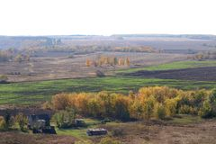 Autumn landscape with fields and trees. Russia. Autumn landscape with fields and trees. Central Russia, Novisil Royalty Free Stock Image