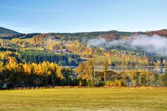 Autumn landscape with fog Stock Photo