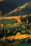 Autumn landscape of forest hills and mountains on sunset. Clear. Autumn landscape of forest mountains and mountains on sunset. Clear sky and colorful trees royalty free stock photo