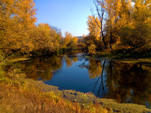 Autumn landscape with forest lake in sun day. Sunny autumn morning on the river Stock Photo