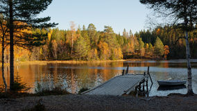 Autumn landscape with forest lake Stock Photo