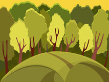 Autumn landscape. Forest landscape. Many of the trees in the forest. Beautiful background. Cartoon Royalty Free Stock Photo