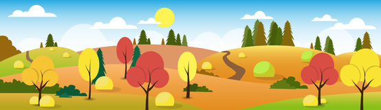 Autumn Landscape Forest Road Blue Cloud Sky Tree Royalty Free Stock Images