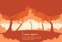 Autumn Landscape Forest Tree Silhouettes piano Immagini Stock
