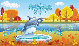 Autumn landscape with a fountain. And a Dolphin Stock Photos