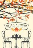 Autumn landscape with furniture of street cafe. Vector banner with words Hello autumn in retro style with table for two, chairs, two cups and a kettle under the stock illustration
