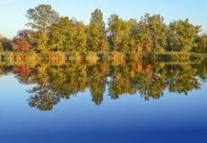 Autumn Landscape Gelb färbende Bäume nähern sich Samarafluß Reflexion im Wasser lizenzfreie stockfotos