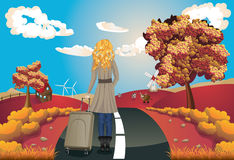 Autumn Landscape with Girl Stock Photos