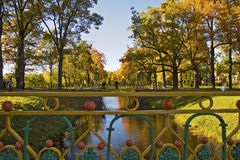 Autumn landscape. Gold autumn in Tsarskoe selo Stock Photo
