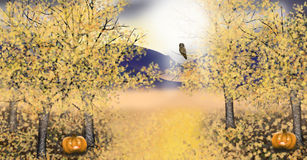 Autumn landscape with golden asp trees pumpkin owl stock illustration