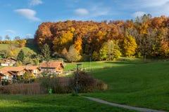 Autumn Landscape of Green meadows near town of Interlaken, Switzerland Stock Photo