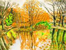 Autumn landscape, hand drawn picture Royalty Free Stock Images