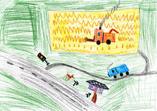 Autumn landscape and harvest. child drawing. Royalty Free Stock Photo