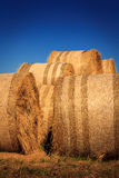 Autumn landscape with haystack at the farm Royalty Free Stock Image