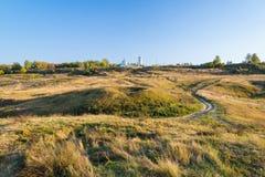 Autumn landscape of hill near the Konstantinovo village, Russia Stock Photo