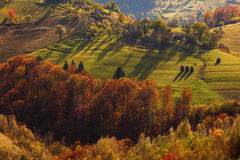 Autumn landscape hills in Romania County, traditional village Stock Photos