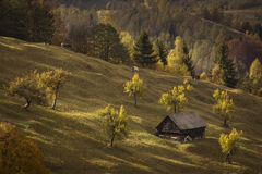 Autumn landscape hills in Romania County, traditional village Royalty Free Stock Image