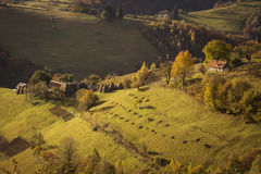 Autumn landscape hills in Romania County, traditional village Stock Image