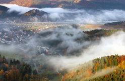 Autumn landscape, Hills and villages with foggy morning, Slovaki Royalty Free Stock Photos
