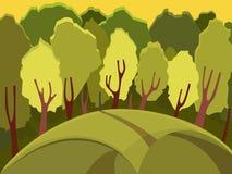 Autumn Landscape horizontal de forêt de jour ensoleillé Plusieurs des arbres dans la forêt Photo libre de droits